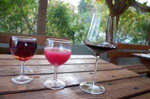Die Evolution des Weins. Vom Traubensaft (links) über den Schilchersturm bis zum preisgekrönten Zweigelt Cuvee des Weingut Labanz.