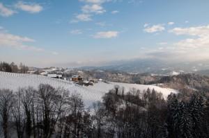 Besonders für romantische Winterspaziergänge ist die südsteirische Weinstraße geeignet.